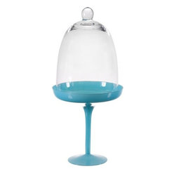 """Home Essentials - Blue Cupcake Stand with Glass Dome - The Blue Pastry Stand displays delectable desserts with a smooth and round glass design. Makes a beautiful tabletop decoration for parties and weddings with its fitted dome to preserve freshness and it features a functional knob handle for easy lifting. For spectacular dessert presentation, our cupcake pedestal is comfortably sized to accommodate sweet treats and small cakes, cheeses, or fruits.       * Dimensions: 6""""D x 13""""H"""