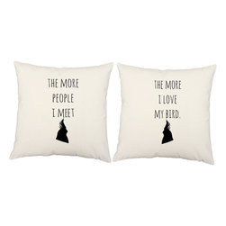 RoomCraft - Love My Bird Throw Pillow Covers 16x16 White Cotton Shams - FEATURES: