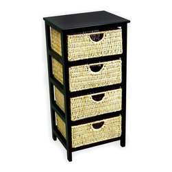 America Basket - Compact Storage Shelf in Black w 4 Sea Grass Baskets in Honey - 4 Baskets included. Each basket is constructed of high quality sea grass with a natural honey color. The frame is made of solid wood with a black finish. No Assembly required. Warrantied against manufacturing, workmanship and parts defects upon arrival. 15.5 in. L x 12.5 in. W x 31.5 in. H (10 lbs.)This compact basket storage shelf is ideal for storage of your home decor, office supplies, or any of your organizational needs. This versatile basket storage shelf is sure to offer you a convenient storage solution, while adding style and warmth to any room.