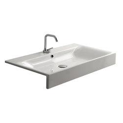 """WS Bath Collections - Cento 3549 Semi-recessed Bathroom Sink 31.5"""" x 17.7 - Cento by WS Bath Collections Bathroom Sink, Designed by Marc Sadler of Italy, Semi-recessed Installation, in Ceramic White"""