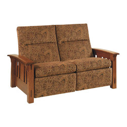 Chelsea Home Furniture - Chelsea Home Lancaster Reclining Loveseat - Black Leather - Let sophistication and relaxation rule your living room with the Lancaster reclining sofa and love seat, pictured in White Quarter Sawn Oak and Michaels Cherry finish. The solid wood arm rests, which are attached atop decorative side slats, are slightly curved to for better support. Relax in the comfort of plush upholstered zippered cushions available in standard or premium fabrics and a quality leather option. Chelsea Home Furniture proudly offers handcrafted American made heirloom quality furniture, custom made for you. What makes heirloom quality furniture? It's knowing how to turn a house into a home. It's clean lines, ingenuity and impeccable construction derived from solid woods, not veneers or printed finishes over composites or wood products _ the best nature has to offer. It's creating memories. It's ensuring the furniture you buy today will still be the same 100 years from now! Every piece of furniture in our collection is built by expert furniture artisans with a standard of superiority that is unmatched by mass-produced composite materials imported from Asia or produced domestically. This rare standard is evident through our use of the finest materials available, such as locally grown hardwoods of many varieties, and pine, which make our products durable and long lasting. Many pieces are signed by the craftsman that produces them, as these artisans are proud of the work they do! These American made pieces are built with mastery, using mortise-and-tenon joints that have been used by woodworkers for thousands of years. In addition, our craftsmen use tongue-in-groove construction, and screws instead of nails during assembly and dovetailing _both painstaking techniques that are hard to come by in today's marketplace. And with a wide array of stains available, you can create an original piece of furniture that not only matches your living space, but your personality. So adorn your home with a piece of furniture that will be future history, an investment that will last a lifetime.