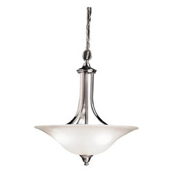 Kichler - Kichler 3502NI Dover 3-Bulb Indoor Pendant with Bowl-Shaped Glass Shade - Neither flamboyant nor gaudy, the Dover Collection looks to simple forms in order to match a broad array of styles and colors. The clean lines on Dover fixtures flow into abundant curves almost seamlessly. Because of its all purpose style, the Dover Collection offers a wide arrangement of chandeliers, pendants, and wall sconces ensuring that no matter if it's for your ceilings or walls, there is something for every room in your home. This large 3 light-inverted pendant features the clean lines the Dover Collection is known for. It features an etched seedy glass diffuser that helps produce a warm light and its modern design is perfect for almost any room.Product Features: