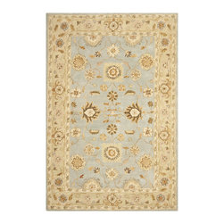 """Safavieh - Safavieh Anatolia AN556B, Blue, Sage, 2'3""""x12' Rug - Anatolia Collection brings old world sophistication and quality in new tufted rugs. This collection captures the authentic look and feel of the decorative rugs made in the late 19th century in this region. Hand spun wool and an ancient pot dying technique together with a densely woven thick pile, gives Anatolia rugs their authentic finish."""