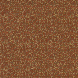 Rust Red And Gold Abstract Scrolls Contract Grade Upholstery Fabric By The Yard - P4752 is great for residential, commercial, automotive and hospitality applications. This contract grade fabric is Teflon coated for superior stain resistance, and is very easy to clean and maintain. This material is perfect for restaurants, offices, residential uses, and automotive upholstery.