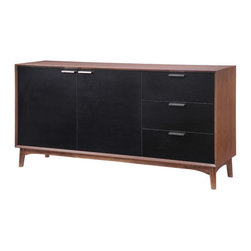 Zuo - Liberty City Buffet - The Liberty City Buffet is sleek and chic, with all the right proportions for a stylish storage cabinet. Crafted of rubberwood with a thick wood veneer, this modern sideboard features three drawers and a double cabinet painted a handsome black. The cabinet features a walnut stain on the top, sides and legs, and sleek brushed stainless hardware pulls. The Liberty City Buffet is excellent for storage in the dining or living room, or for a chic unit in the office or bedroom. Let this mid-century modern buffet lend it's style and capacity to your functional home or office.