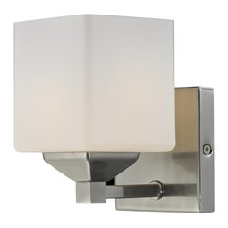 Z-Lite - Quube 1-light Brushed Nickel Wall Sconce - Enjoy an updated decor with the installation of this brushed nickel wall sconce. With its eye-catching cube-shaped opal glass shade, this one-light wall sconce will easily introduce a modern look to your home. An included chain offers easy operation.