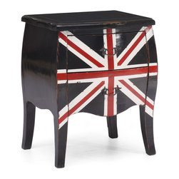 Zuo Modern - Union Jack Small Cabinet - Add flair to any space with the Union Jack large cabinet. Made from solid elm and two large drawers for storage. The handles are antiqued metal.