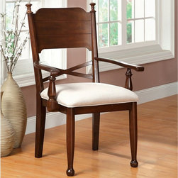 Furniture of America - Furniture of America New England 2-Piece Dining Arm Chairs - Brown Cherry - IDF- - Shop for Dining Chairs from Hayneedle.com! Complete your country themed dining decor with the Furniture of America New England 2-Piece Dining Arm Chairs - Brown Cherry. Crafted of durable wood veneers this stylish set of two showcases sleek lines and complementing ivory fabric upholstery. Cushioned for your comfort each of these chairs are embellished with a lovely brown cherry finish perfect for your contemporary decor.About Furniture of AmericaFurniture of America has over 20 years experience in the furniture industry. They have facilities in California Georgia and New Jersey. Furniture of American strives to provide a comprehensive selection of home furniture at competitive prices. They feature a wide variety of bedroom collections youth furniture dining room sets upholstery living room furniture accents upholstery and more. Furniture of America offers more value for less always!