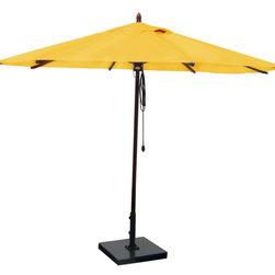 Greencorner - 11' Octagon Mahogany Umbrella, Sunflower Yellow - 11' Octagon