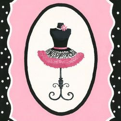 Sherri Blum, Jack and Jill Interiors, Inc. - Oui Paris French Dress Form Canvas Wall Art, Pink Black Tutu Decor for Girls, 18 - Seeking pink and black decor for your girl who loves Paris? Take you and your little one to a French boutique with Sherri Blum's whimsical wall art for children in pink surrounded by black and white polka dots. Indulge in chic kids' wall decor for your little bambin, creating the perfect Parisian presence.