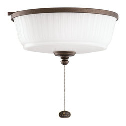 DECORATIVE FANS - DECORATIVE FANS Weathered Copper Ceiling Fan Light Kit X-PCW009083 - This Kichler Lighting ceiling fan light kit features a cased opal glass shade with a unique pleated look for visual interest. A warm toned Weathered Copper Powder Coat finish pulls the look together.