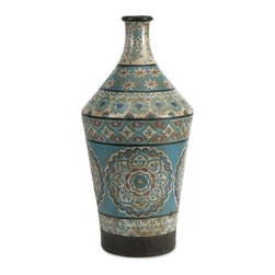 "IMAX - Kabir Large Hand Painted Vase - Globally inspired, this large hand painted vessel from India spices up any room with rich indigo contrasts and red accents. Item Dimensions: (24""h x 11""w x 11"")"