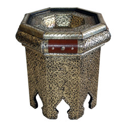 Badia Design Inc. - Metal and Leather Side Table - Beautiful Moroccan side table made from metal and hard leather with intricate designs. This makes for a unique and contemporary looking side table that can be used in any room in your home, apartment or office.