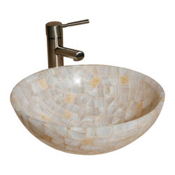 """The Allstone Group - L-VMR-R-16WS Polished #1 Vessel Sink - Natural stone strikes a balance between beauty and function. Each design is hand-hewn from 100% natural stone.  Allstone mosaic vessel sinks are our only product that is not carved from one single piece of stone.  Onyx was used in Egypt as early as the Second Dynasty to make bowls and other pottery items. Onyx is also mentioned in the Bible at various points, such as in Genesis 2:12 """"and the gold of that land is good: there is bdellium and the onyx stone"""", and such as the priests' garments and the foundation of the city of Heaven in Revelation."""