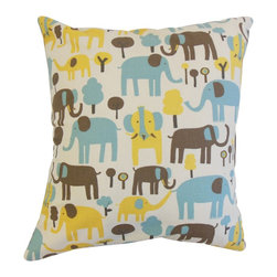 "The Pillow Collection - Carleton Animal Print Pillow Natural 18"" x 18"" - Whimsical and playful, this accent pillow brings life to your living space. This throw pillow features an animal print pattern in shades of blue, yellow, brown and white. Bring creativity to your children's bedroom or playroom with this 18"" pillow. Made of 100% soft cotton pillow."