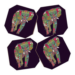 Sharon Turner Painted Elephant 4 Coasters - Say goodbye to water rings on your furniture and hello to the stylish solution: DENY Designs' Coaster Set. Available in a set of four, you can also opt for the coaster tray to house the set or go the a la carte route. Either way, your glasses are going to get a fun drinking companion!