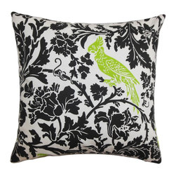 "The Pillow Collection - Gayndah Floral Pillow Black Chartreuse - Add warmth and comfort to your home with this beautiful accent pillow. This square pillow is an inexpensive way to reinvent your living space. Decorated with a floral pattern and a bird perched atop the foliage. This 18"" pillow lends a perfect finishing touch to your bed, sofa or chair. Expertly made to last for a long time, this decor pillow is crafted of 100% soft cotton material. Hidden zipper closure for easy cover removal.  Knife edge finish on all four sides.  Reversible pillow with the same fabric on the back side.  Spot cleaning suggested."