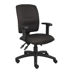 Boss Chairs - Boss Chairs Boss Multi-Function Fabric Task Chair with Adjustable Arms - Upholstered in black Crepe fabric. Back angle lock allows the back to lock throughout the angle range for perfect back support. Seat tilt lock allows the seat to lock throughout the tilt range. Pneumatic gas lift seat height adjustment. Nylon base. Hooded double wheel casters. Adjustable arms.