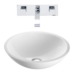 VIGO Industries - VIGO Flat Edged White Phoenix Stone Glass Vessel Sink, Chrome - The VIGO Flat Edged Phoenix Stone Vessel Sink with Chrome Wall Mount Faucet will bring a simplistic design to your bathroom.