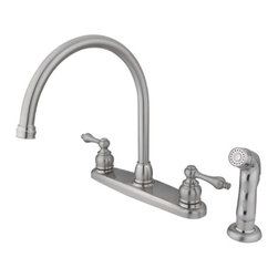 Kingston Brass - Double Handle Goose Neck Kitchen Faucet with Non-Metallic Sprayer - This double handle kitchen faucet personifies the elegance of the early traditional American design. The faucet features an 8in. centerset platform with a high goose neck spout that rotates 360 degrees for accessibility and convenience. The body of the faucet is constructed in solid brass for durability and long-lasting usage with the finish made from satin nickel for corrosion and tarnishing resistance. The handle levers feature a 1/4-turn on/off mechanism for controlling water volume and temperature. The faucet operates with a washerless disc valve for drip-free functionality and has a 2.2 GPM (8.3 LPM) and a 60 PSI maximum rate. An integrated removable aerator is fitted beneath the spout's head piece for conserving water flow. A 10-year limited warranty is provided to the original customer. Non-metallic sprayer included.