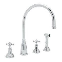 Rohl Perrin & Rowe U.4735X-2 Double Handle Kitchen Faucet - The Rohl Perrin & Rowe U.4735X-2 Double Handle Kitchen Faucet is as efficient as it is elegant. Crafted with durable solid brass this fixture is designed for installation with four faucet holes ¼-turn ceramic disc valves and a patented diverter. Dual cross-style knobs control a steady 1.8 gallon per minute flow and the high-arched swivel spout provides clearance for large pots and pans. A coordinating insulated sidespray blasts baked-on food and debris from dishes. Choose English bronze polished chrome polished nickel or satin nickel. Limited lifetime warranty included. Product Specifications Handle style: Knob Valve type: ¼-turn ceramic disc Flow rate: 1.8 gallons per minute Spout height: 8.88 inches About RohlNamed for the family that founded it in 1983 Rohl is anchored in a tradition of family values trust integrity and innovation. Since starting with its original pullout faucet Rohl has continually expanded its product line which now includes a variety of high-quality classically differentiated faucets and fixtures. Each is crafted to Rohl's specifications for the home hotel or resort.