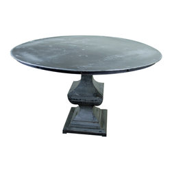 Rustic Metal Round Dining Table - Rustic Metal Round Dining Table with pedestal base. A Tres Amigos furniture exclusive! Rustic Dining Room furniture with a touch of industrial design keeps this style fresh. A bit of contemporary design is used as well to accentuate the clean lines in this table. Some have called this transitional style as well. What do you think? Add colorful leather chairs to make a statement with this round dining table.