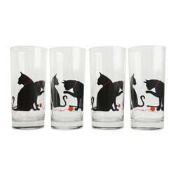 Mary Elizabeth Arts - Cat and Yarn Drinking Glasses - Set of 4 Silkscreen Printed Glasses - The perfect gift for the cat lover in your life.