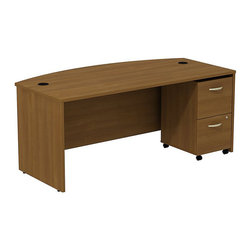 """BBF - BBF Series C 72W x 36D Bowfront Shell Desk with Mobile Pedestal - BBF - Computer Desks - SRC0020WOSU - Simple and sophisticated. The BBF Series C 72""""W Bowfront Desk coupled with the 2-Drawer Mobile Pedestal (F/F) provides plenty of work and storage space with room to grow. The durable thermally fused laminate work surface offers a comfortable seating for visitors while maintaining ample work space. Desktop grommets and wire channels create a wire management system that keeps the desktop clear and uncluttered to maintain an orderly appearance. The 2-Drawer Mobile Pedestal adds two file drawers that accommodate letter legal and A4 file sizes on full-extension ball bearing slides to allow full file access. A single face front gang lock secures both drawers and the versatile Mobile Pedestal fits neatly under the desktop to keep files at your fingertips. With a finish to match any decor additional BBF Series C pieces allow for additional configurations as your needs evolve and grow. Solid construction meets ANSI/BIFMA test standards in place at time of manufacture; this product is American Made and is backed by BBF 10-Year Warranty."""