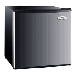 Sunpentown - Compact Refrigerator with Energy Star, 1.8 Cu. Ft., Stainless Steel - Flush back, compact design is ideal for college dorm room or office, perfect for counter-top placement. Reversible doors offer versatility. Features tall bottle door rack, separate ice maker chamber and adjustable thermostat.