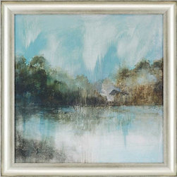 Paragon Decor - Silver Lake Artwork - Beautiful blue-hued landscape is finished with a modern silver finish frame.