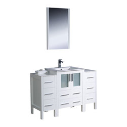 """Fresca - 48"""" White Vanity w/ 2 Side Cabinets & Integrated S Cascata Brushed Nickel Faucet - Fresca is pleased to usher in a new age of customization with the introduction of its Torino line.  The frosted glass panels of the doors balance out the sleek and modern lines of Torino, making it fit perfectly in eithertown or country decor."""