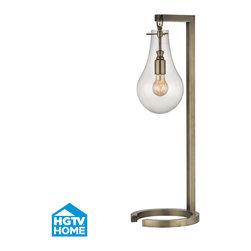 HGTV HOME - HGTV HOME HGTV330 Foucault 1 Light Table Lamps in Antique Brass - Antique Brass Table Lamp