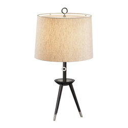 Robert Abbey - Robert Abbey Jonathan Adler Ventana Tripod Table Lamp PN670 - Ebony Finished Wood with Antique Polished Nickel Finished Accents