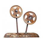 """Weld Art - A pair of steel wheels have been welded to a blade in this cool art piece. 13 x 13 x 5"""" deep."""