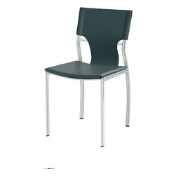 Nuevo - Lisbon Elliptical Dining  Chair Top Grain Italian Leather, Black - Nuevo Living is a premier manufacturer of high quality modern furniture and decor. Nuevo Specializes in wonderful original designs, high quality interpretations of modern classics, designer decorating items, and specialty lighting. Creating a modern home environment is easy with Nuevo Modern Designs.