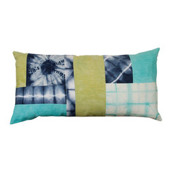 "The Tangled Path - Green and Blue Shibori Cushion - This one of a kind cushion is constructed from assorted pieces of hand-dyed linen, cotton, and linen/rayon blend. Each piece was dyed in the shibori tradition, using non-toxic fiber reactive dyes and set so that no bleeding or fading will occur. An envelope closure on the back allows for easy insertion and removal of included 14""x28"" polyester pillow insert. All inside seams have been serged to prevent fraying and provide strength, and the outside patchwork seams are topstitched using a light blue cotton thread. The back is a cream Kona cotton."