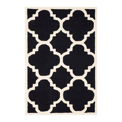 Safavieh - Cora Hand Tufted Rug, Black / Ivory 4' X 6' - Construction Method: Hand Tufted. Country of Origin: India. Care Instructions: Vacuum Regularly To Prevent Dust And Crumbs From Settling Into The Roots Of The Fibers. Avoid Direct And Continuous Exposure To Sunlight. Use Rug Protectors Under The Legs Of Heavy Furniture To Avoid Flattening Piles. Do Not Pull Loose Ends; Clip Them With Scissors To Remove. Turn Carpet Occasionally To Equalize Wear. Remove Spills Immediately. Bring classic style to your bedroom, living room, or home office with a richly-dimensional Safavieh Cambridge Rug. Artfully hand-tufted, these plush wool area rugs are crafted with plush and loop textures to highlight timeless motifs updated for today's homes in fashion colors.
