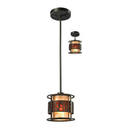Z-Lite - Z-Lite Milan Pendant Light X-C-PM05-8Z - The Oak Park family finished in Java Bronze offers clean lines with simple, geometric forms to show true craftsman's styling. This 1 Light Mini Pendant is finished in Java bronze paired with White and Amber Micca.