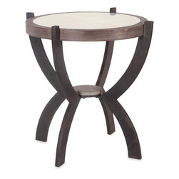 #N/A - Keene - Keene. Natural Wood And Rustic Metal Table With Antique Mirror Top. Width: 24 in. Depth: 24 in. Height: 28 in.
