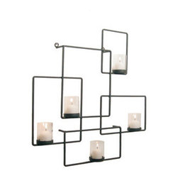 Danya B - Iron Wall Puzzle Candle Holder with 5 Glass Candleholders, Black - This gorgeous Iron Wall Puzzle Candle Holder with 5 Glass Candleholders, Black has the finest details and highest quality you will find anywhere! Iron Wall Puzzle Candle Holder with 5 Glass Candleholders, Black is truly remarkable.