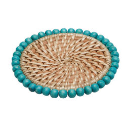 Kouboo - Round Rattan Coasters with Wood Beads, Set of 4 - Get color coordinated. Not only do these coasters protect your tabletop, they also match back to other pieces for a perfectly coordinated look. Each is made of handwoven rattan that's decorated with wood beads in a turquoise hue for a pop of brilliant color.