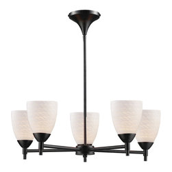 Elk Lighting - Elk Lighting Celina 5-Light Chandelier in Dark Rust & White Swirl Glass - 5-Light Chandelier in Dark Rust & White Swirl Glass belongs to Celina Collection by Designed To Showcase Our Many Blown Glass Options, The Celina Collection Utilizes A Simplified Frame That Embellishes The Shape And Color Of The Glass. Finished In Polished Chrome Or Dark Rust.