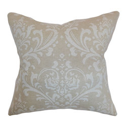 """The Pillow Collection - Olavarria Damask Pillow Cloud Linen - Lend a classic style to your bed, sofa or chair with this beautiful throw pillow. This accent pillow features a romantic print in muted neutral shades. Style your home like a pro without going above your budget by simply adding this decor pillow. Made from 100% high-quality cotton, this 18"""" pillow adds comfort and style. Hidden zipper closure for easy cover removal.  Knife edge finish on all four sides.  Reversible pillow with the same fabric on the back side.  Spot cleaning suggested."""