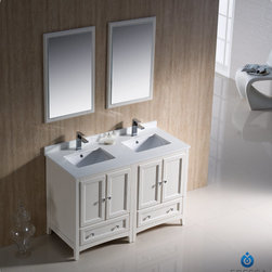 "Fresca - Fresca Oxford 48"" Traditional Double Sink Bathroom Vanity Set - Blending clean lines with classic wood, the Fresca Oxford Traditional Bathroom Vanity is a must-have for modern and traditional bathrooms alike. The vanity frame itself features solid wood in a stunning mahogany finish that's sure to stand out in any bathroom and match all interiors. Available in many different finishes and configurations."