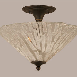 Toltec Lighting - Dark Granite 16-Inch Two Light Semi-Flush with Italian Ice Glass - - Rated: Interior  - Is This A Chain Hung Fixture? : NO  - Bulb Included: No  - UL Application: Ceiling  - Assembly Required: Yes Toltec Lighting - 121-DG-719