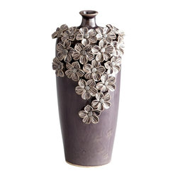 Silver Nest - Gardenia Small - Gorgeous violet vase adorned with ceramic flower petals...