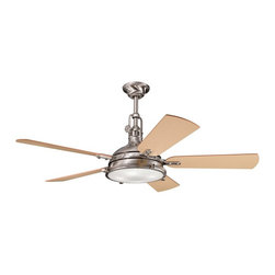 "DECORATIVE FANS - DECORATIVE FANS Hatteras Bay 56"" Transitional Ceiling Fan X-SSB810003 - From the Hatteras Bay Collection, this Kichler Lighting ceiling fan features industrial styling and a Fresnel lens. The Brushed Stainless Steel finish compliments the clean look of the reversible light oak and medium oak fan blades."