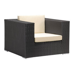 Cartagena Armchair - Built out of high-quality wicker in a gorgeous espresso, the Cartagena outdoor armchair is the perfect solution for a patio in a modern home. Its aluminum frame is UV protected, and is available in beige and tan as well.