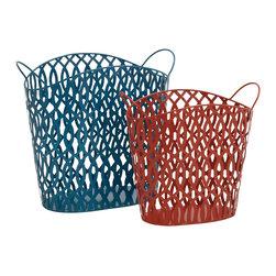 Matchless in Beauty Metal Basket, Set of 2 - Description: