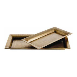 """Arteriors - Arteriors Home - Athens Rectangle Trays, Set of 2 - 2246 - This set of two rectangular hammered iron trays finished in antique brass have flat bottoms (no feet) making them perfect to rest on an ottoman or soft surface. Features: Athens. Collection: Tray Set of 2Antique brass finish Some Assembly Required. Dimensions: Large: W 14 1/2"""" x D 2"""" x L 28 1/2""""Small: W 12"""" x D 2"""" x L 22"""""""